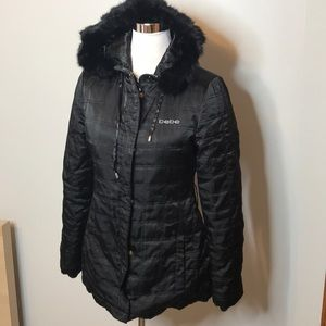 Bebe satin quilted fur trim hood coat
